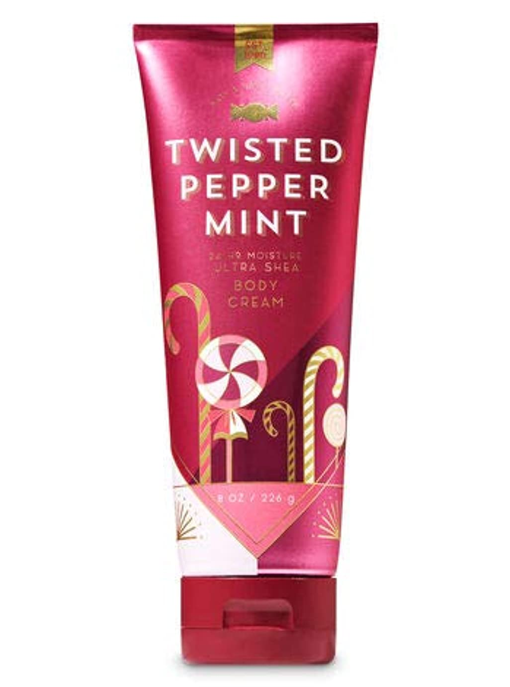 例示する収縮囲い【Bath&Body Works/バス&ボディワークス】 ボディクリーム ツイステッドペパーミント Ultra Shea Body Cream Twisted Peppermint 8 oz / 226 g [並行輸入品]