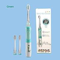 子供用電動歯ブラシ3-12歳用バッテリー子供用歯ブラシLEDソニックキッズ用歯ブラシ、タイマー3ノズル付き,グリーン