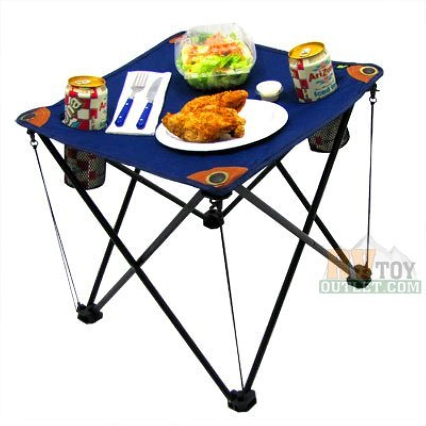 ワックスグリルバングFolding Camping Table Folding Table with Drink Holders and Carry Bag (Blue) by EZ Travel Collection