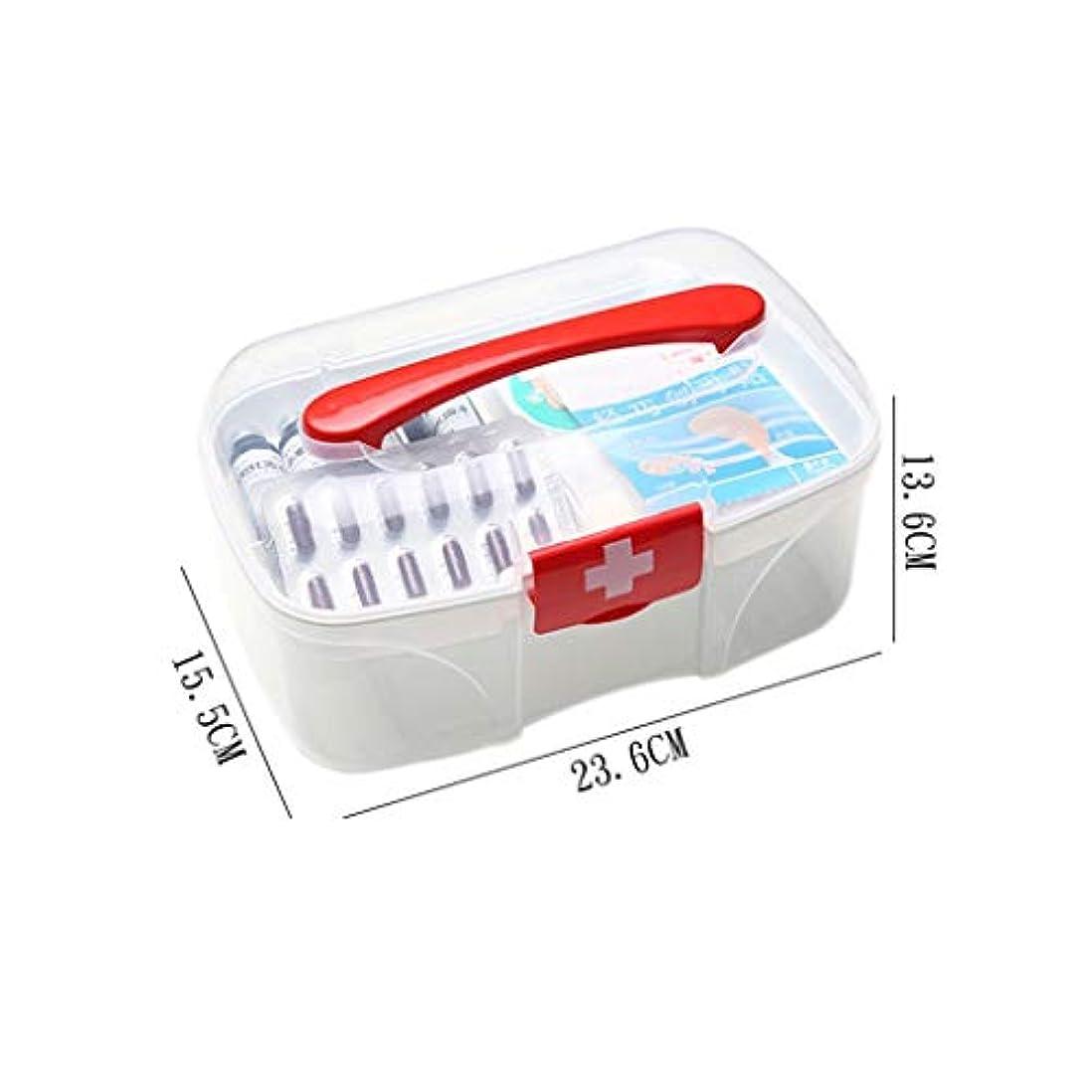 家庭用薬箱こども応急処置キット薬収納ボックスプラスチック携帯用薬箱 LIUXIN (Color : White, Size : 13.6cm×23.6cm×15.5cm)