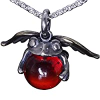 龍頭 天使 蛙 玉ペンダント トップ Red glass チェーン付き レッド ガラス シルバー メンズ ネックレス