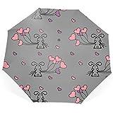 折りたたみ傘Little Bunny And Balloons 自動開閉式 晴雨兼用 風に強い 梅雨対策 8本傘骨 メンズ傘 遮光 遮熱 収納ポーチ付き
