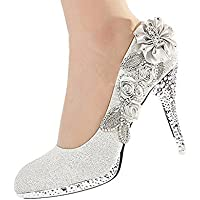 getmorebeauty Women's High Heel Dress Shoes Glitter Lace Flower Pearls Closed Toe Wedding Shoes