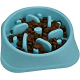 Zenify Pets Dog Bowl Slow Feeder - Large 500ml Healthy Eating Pet Interactive Feeder with Anti-Skid Non-Slip Grip Base to reduce Overeating Bloating Vomiting Obesity for Wet Dry Raw Food and Water (Blue)