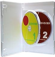 Mロックシリーズ 15mm厚フリップタイプ2枚収納DVDトールケース ホワイト 100個 ブルーレイディスクにも最適