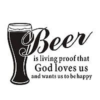 Weaeo ビールは生きている証拠です神は私たちを愛し、私たちに幸せなキッチンになることを願っています取り外し可能なビニールの壁のステッカーDiyホームインテリア防水