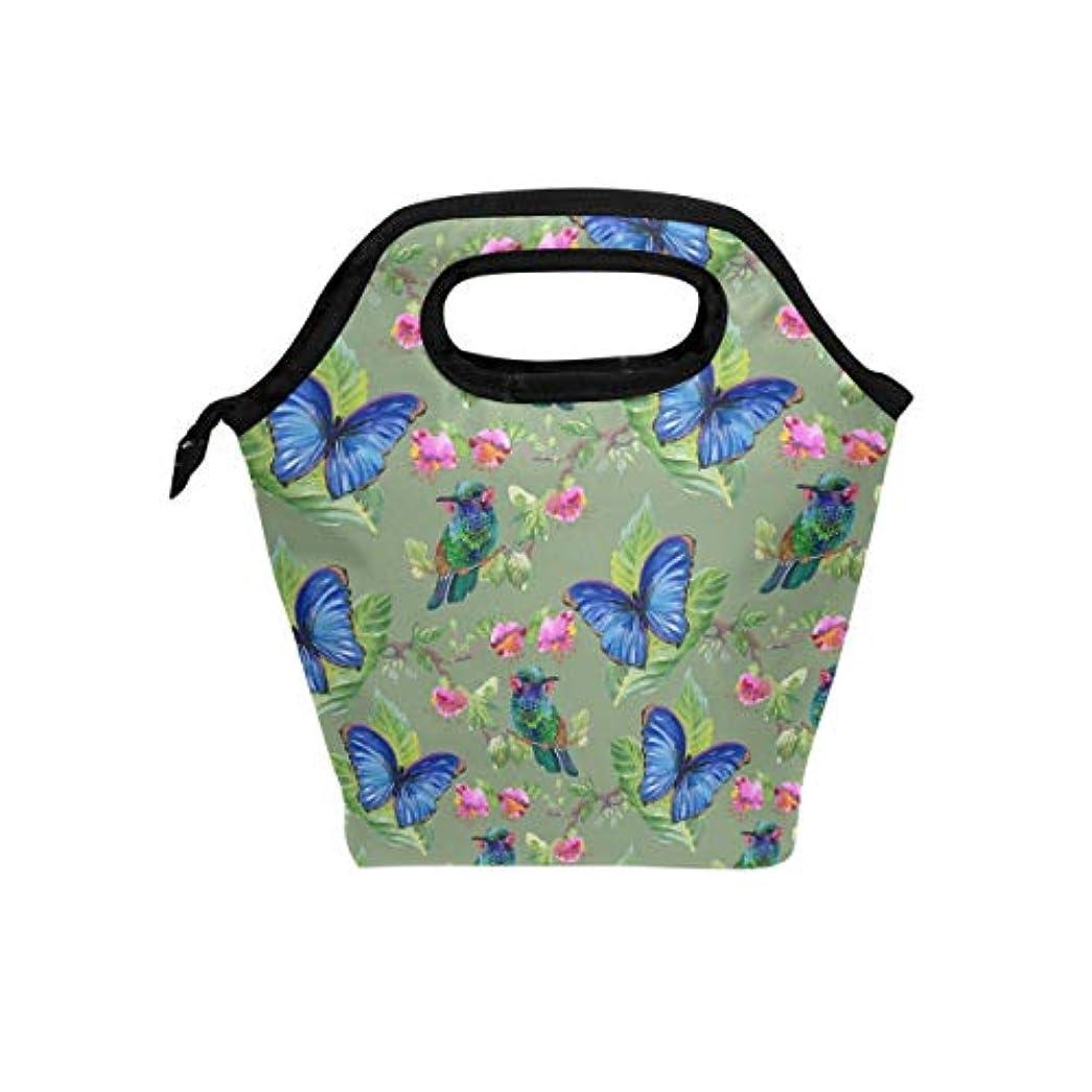 機械大破やめるランチバッグ 弁当バッグ お弁当 お弁当箱 麗しい 青いの蝶と花柄 保冷保温 保温弁当 大容量 手提げ 通勤 通学