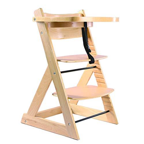 ベビーチェア 子ども椅子 キッズチェア 木製ハイチェア 天然木 ビーチ無垢材椅子 ダイニング 木製いす 14階段調節可能 安全ベルト付き セーフティガード付き ナチュラル