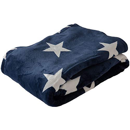 アイリスプラザ 毛布 シングル ブランケット プレミアムマイクロファイバー 洗える 静電気防止 とろけるような肌触り fondan 品質保証書付 星柄ネイビー 140×200cm