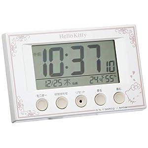 Hello Kitty (ハローキティ) 目覚まし時計 キャラクター 電波 デジタル キティ R166 温度 湿度 カレンダー 表示 白 リズム時計 8RZ166MB03