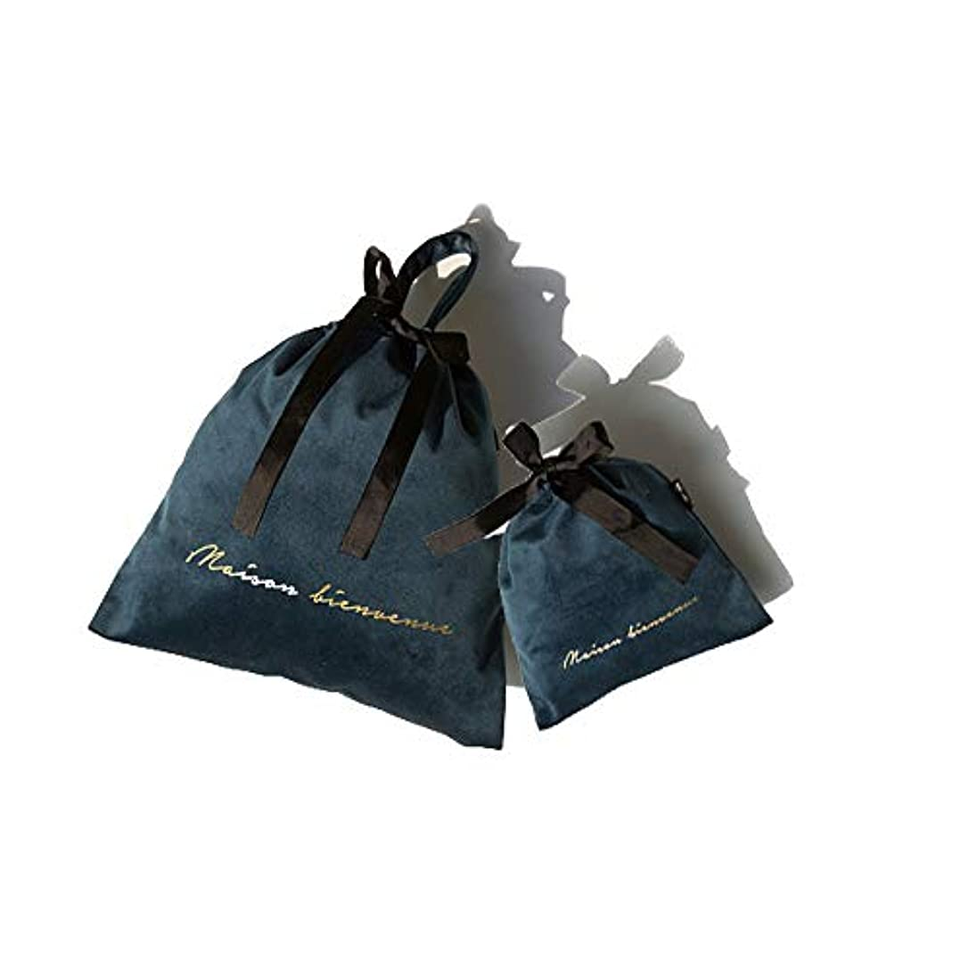 SIRIN メイクポーチ ベルベット 巾着袋 化粧ポーチ コスメポーチ 旅行出張用収納バッグ 巾着ポーチ 小物入れ メイク用品 キャリーケース 大容量 携帯用 4色選べる 軽量 おしゃれ プレゼント ギフト (ブルー)