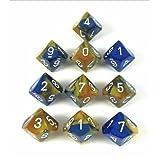 Chessex製造26222 Geminiブルーゴールドホワイトd10ダイスのセット10