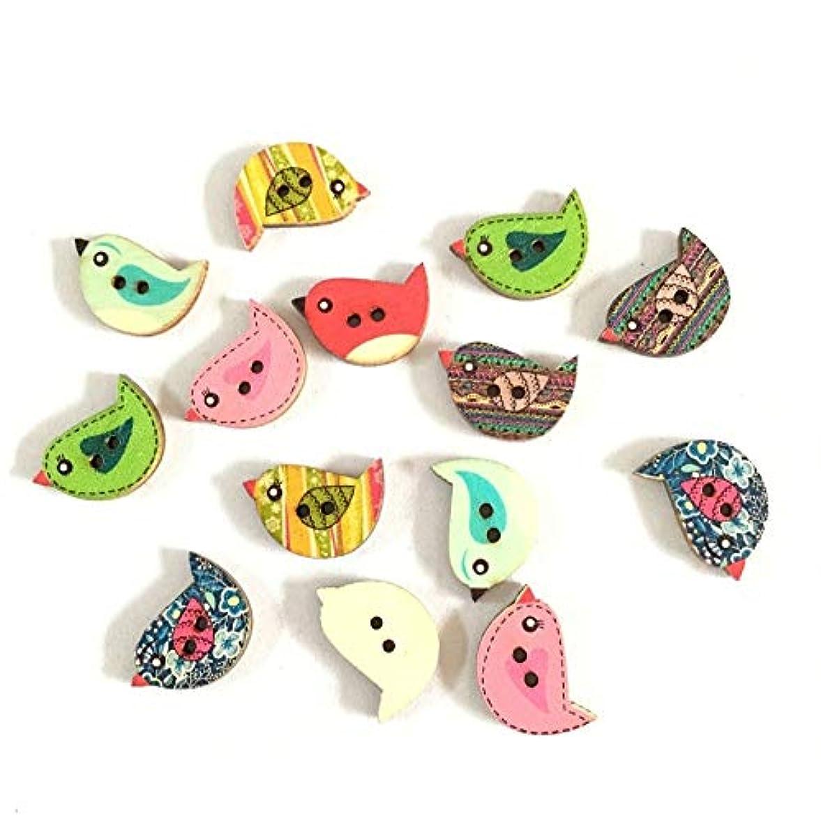 タック餌エチケットJicorzo - 50pcsのミックス木製ボタンのかわいい鳥のパターンDecoratiラウンド2つの穴木製縫製するためのボタン、DIY、衣料品アクセサリー