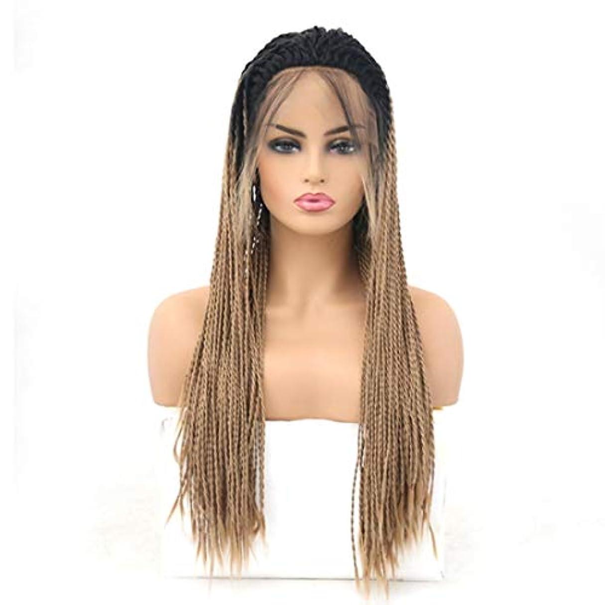 アフリカ熱心スナップKerwinner 女性のための前髪の毛髪のかつらとフロントレースグラデーションかつら耐熱合成かつら (Size : 26 inches)