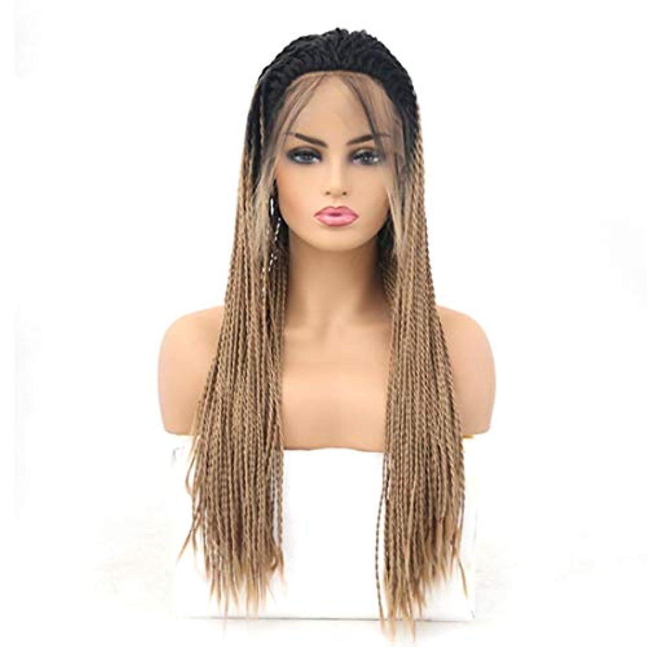 ナット真面目な防止Kerwinner 女性のための前髪の毛髪のかつらとフロントレースグラデーションかつら耐熱合成かつら (Size : 26 inches)