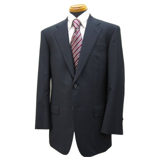 シングル2釦スーツ「日本製」ウール100% cloth by イタリア/濃紺系シャドーストライプ柄/メンズ紳士服上下 ロロ・ピアーナ