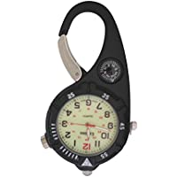 Mini Clip Watch – Compact Analog Display Black Carabiner Watch with Compass & Ultra Bright LED Microlight Doctors Nurses Paramedics Chefs
