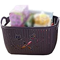 YI LU Deng JU- 破片の収納箱、化粧品の収納バスケット、籐のラタンのバスケット、厚いプラスチックの収納バスケットを処理する (色 : Black purple, サイズ さいず : 38 * 29 * 22cm)