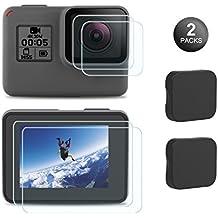 Kupton Screen Protector for GoPro Hero 7 (Black Only) / 6/5/ 2018, Upgraded Tempered Glass Screen Protector Film+Tempered Glass Lens Film+Lens Cover Accessories for Go Pro Hero7 Hero6 Hero5-2 Packs