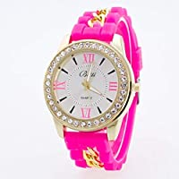 2015 Newest Watches Ladies Roman Numerals Rhinestone Dial Quartz Watch Classic Jelly Watches for Women and Men Unisex Silicone Watches