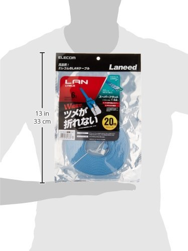 LANケーブル CAT6/爪折れ防止 フラット/20m ブルー LD-GFT BU200 1個 [7637]