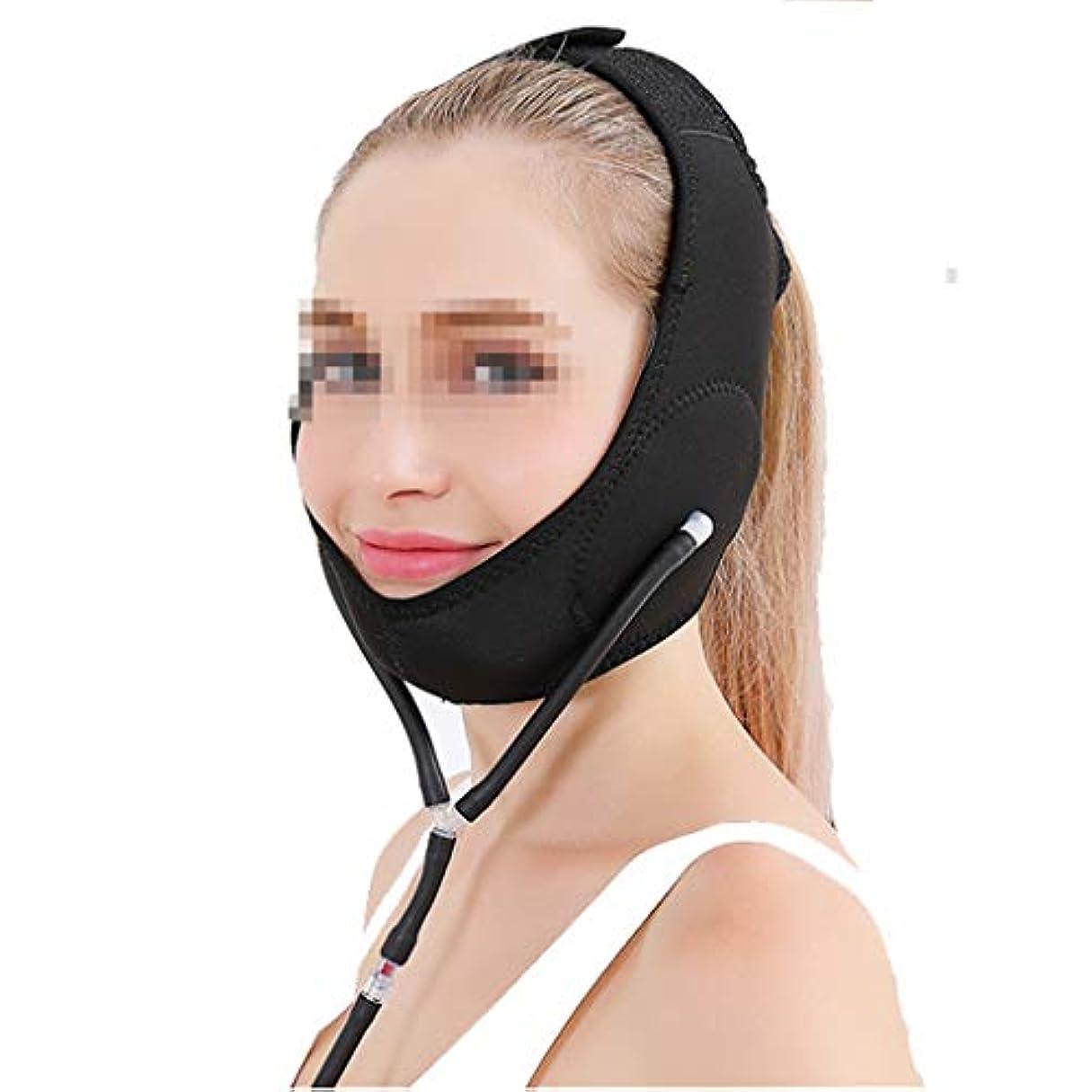 アートトピック補償空気圧薄いフェイスベルト、マスク小さなVフェイス圧力リフティングシェーピングかみ傷筋肉引き締めパターン二重あご包帯薄いフェイス包帯マルチカラーオプション (Color : Black)