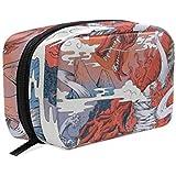 竜 浮世絵 化粧ポーチ メイクポーチ 機能的 大容量 化粧品収納 小物入れ 普段使い 出張 旅行 メイク ブラシ バッグ 化粧バッグ