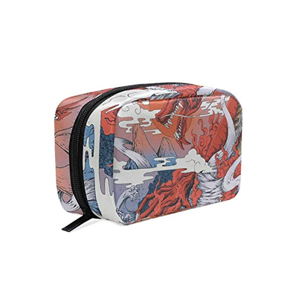 アシュリータファーマン人事タイピスト竜 浮世絵 化粧ポーチ メイクポーチ 機能的 大容量 化粧品収納 小物入れ 普段使い 出張 旅行 メイク ブラシ バッグ 化粧バッグ