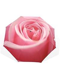 バララ(La Rose) 折り畳み傘 バラ柄 花柄 ピンク レディース 軽量 手開き かわいい 子供 折りたたみ傘 日傘 晴雨兼用 梅雨対策 頑丈な8本骨 遮光 丈夫 耐風 撥水 携帯用 収納ポーチ付き