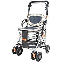 ショッピングカート、高齢者の移動補助装置、折り畳み式携帯用トロリー、四輪ショッピングカート、高齢者がスクーターに乗ることができる、超軽量_ダブルブレーキ (Color : Black, Size : 94 * 48 * 50cm)