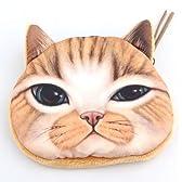 猫 顏 コインケース 化粧ポーチ 小物入れ 全4種 (穏やか 茶色)
