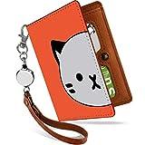 パスケース リール付き ねこ フェイス オレンジ ねこ柄 二つ折り 定期入れ 2枚 3枚 4枚 カードケース カード入れ 猫柄 猫 ネコ キャット [ねこ フェイス オレンジ/ps]