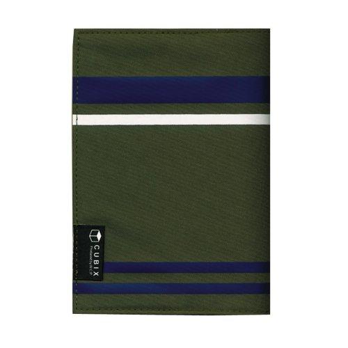 キュービックス ブックカバー ストライプ 文庫サイズ カーキ 114022-11