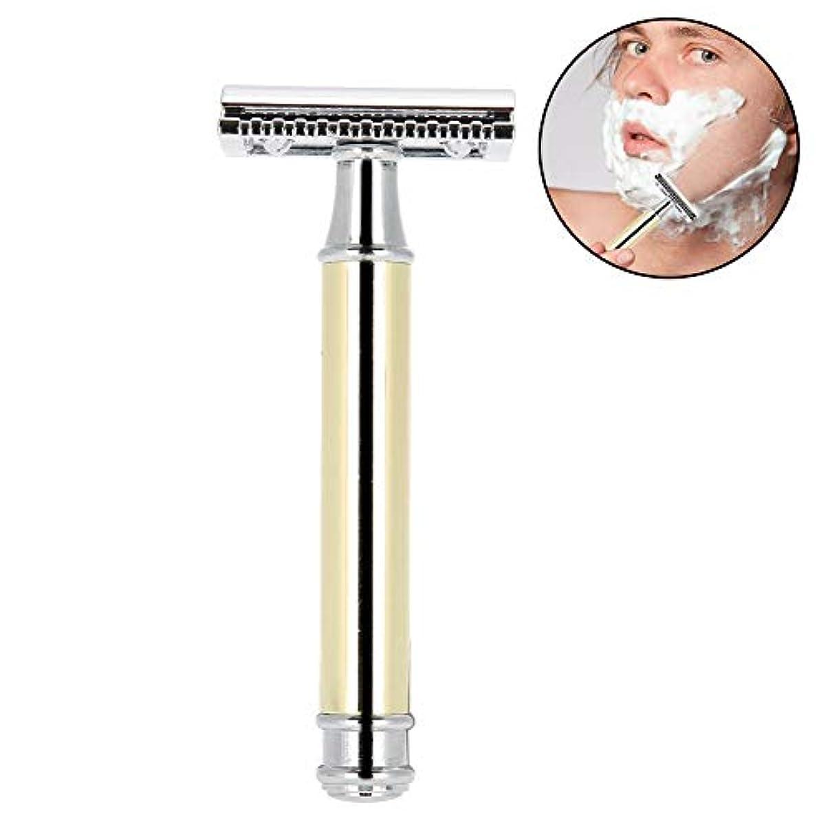 オゾン断片分注する手動メンズシェーバー 金属 クラシックレイザー 両刃カミソリ 安全 防水肌に優しく 使いやすい