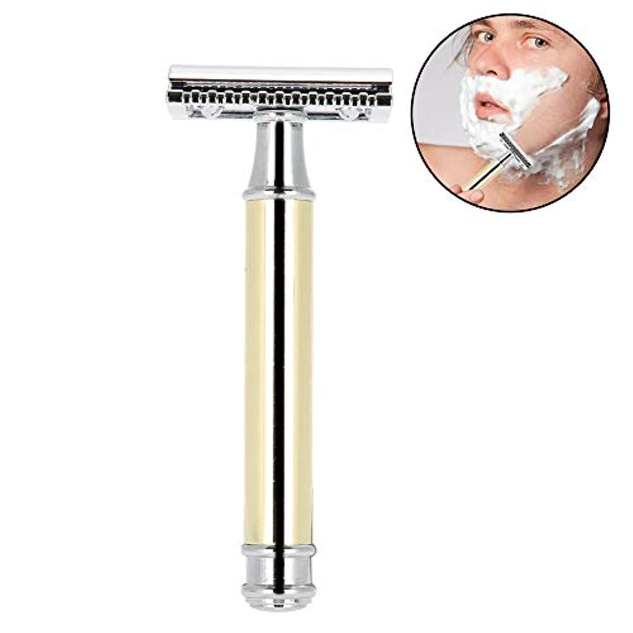 伝染病人柄電気の手動メンズシェーバー 金属 クラシックレイザー 両刃カミソリ 安全 防水肌に優しく 使いやすい