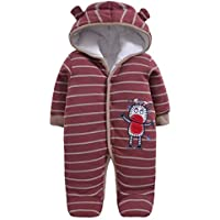 Morbuy Baby Rompers, Newborn Unisex Baby Winter Jumpsuit Hooded Romper with Footies Hat Fleece Cotton All in One Snow Suit Outfits Flannel Bodysuit