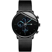 Ausexy Men's Casual Stainless Steel Quartz Watch with Stainless Steel Band