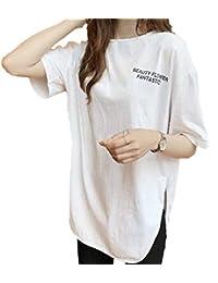 nunonette 英字 Tシャツ バッグプリント 半袖 レディース ロング丈 スリット カットソー 黒 白 グレー (M~2XL)
