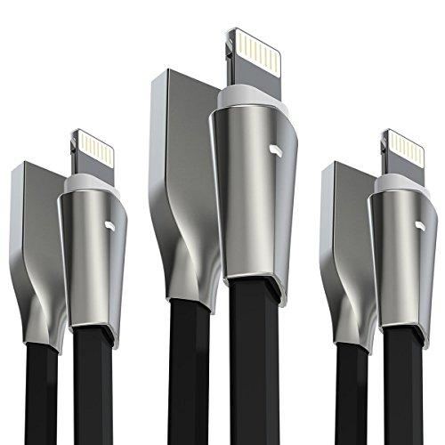Aimus iPhone 充電ケーブル 3本セット1.8M+1.8M+1.8M ライトニングケーブル LEDライト付き 高耐久 亜鉛合金採用 USB急速充電器 iphone充電器 iphoneケーブル (ブラック)