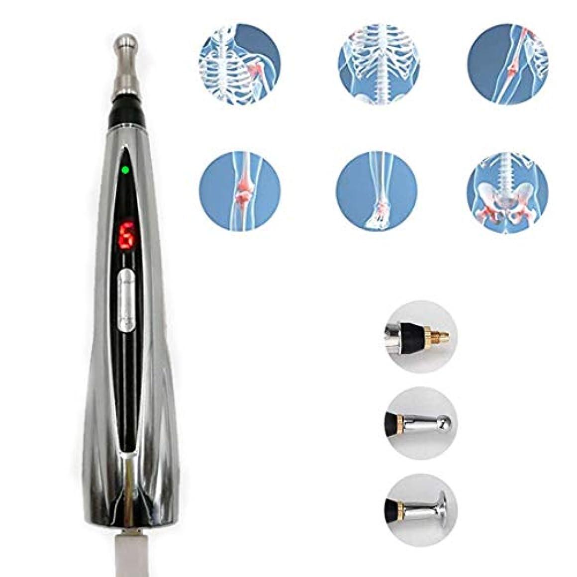 きらめくマージ行うメリディアンペンの充電、USB充電鍼ペンハンドヘルドマッサージペン痛みストレス緩和のための電子鍼17.5cm * 3cmシルバー