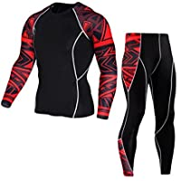 OVERMAL Mens Leggings Sports Running Yoga Athletic Pants Long Underwear Man Workout Leggings Fitness Sports Gym Pants Shirt Suit