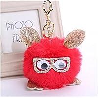 FenBuGu-JP 興味深い フクロウキーリングフクロウメガネを着てペンダントバッグラブリー漫画キーホルダー(赤)