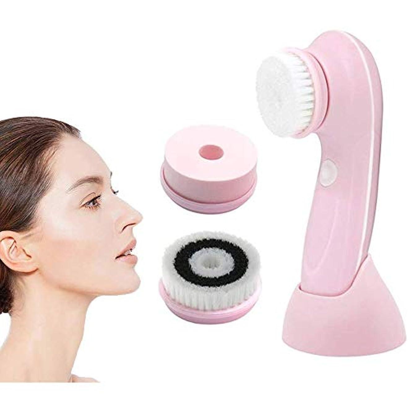 神社哲学的郵便物KJRJCD 洗顔ブラシ、3つの交換用ヘッドとエクスフォリエイティング、ブラックヘッド、ポータブル顔スクラバー用USB充電式プロフェッショナル洗顔ブラシ、ピンクスピニング