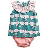 qighaima 幼児 子供たち 赤ちゃん 女の子 プリント ロンパース 新生児 赤ちゃん 女の子 花柄 夏 衣類 セット (6-12ヶ月, BCS8036)0-6ヶ月|BCS8040