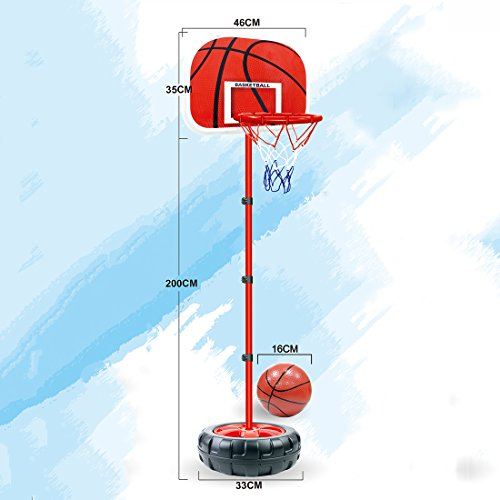 バスケットボールStands、Wolfbush 83–200cmバスケットボールスタンド高さ調整可能子供用バスケットボールゴールフープToy Set with Ironフレームとタイヤベース–ブラック+レッド