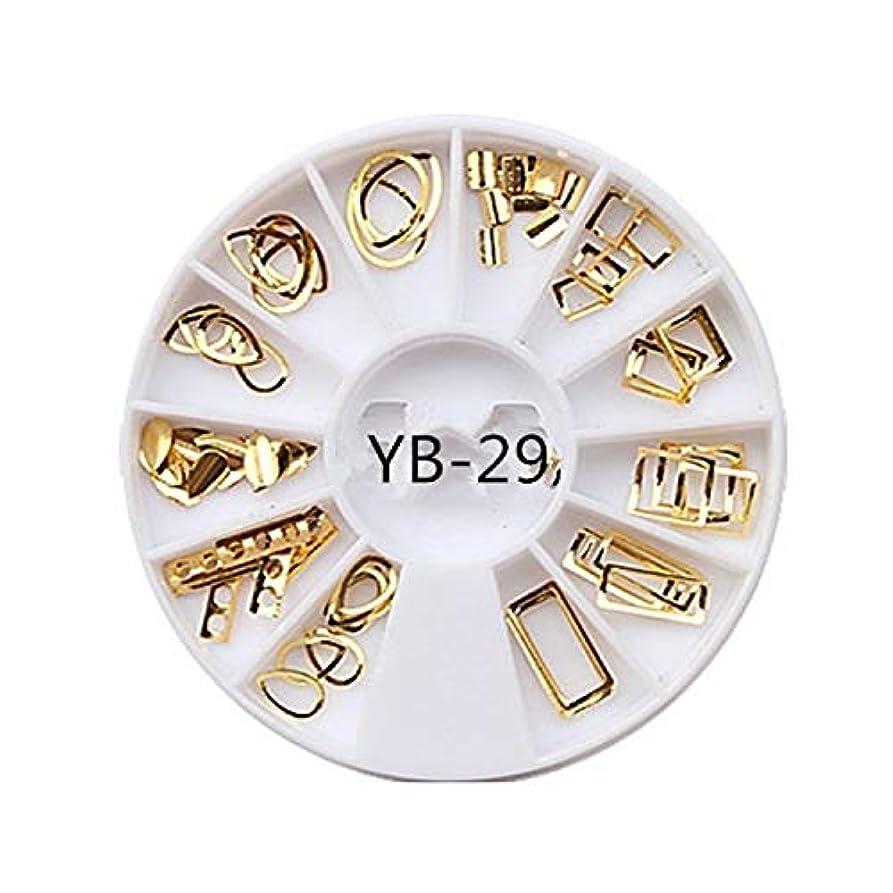 ビューティー&パーソナルケア 3ピースdiyマニキュアディスク飾りアーク金属リング不規則フレーム中空馬の目のリベット光線療法ネイルデコレーション ステッカー&デカール (色 : YB-29)