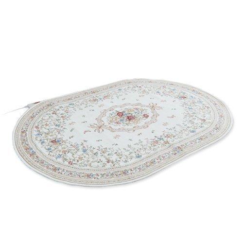丸洗いできるゴブラン織り 楕円形ホットカーペット 1畳用 O...