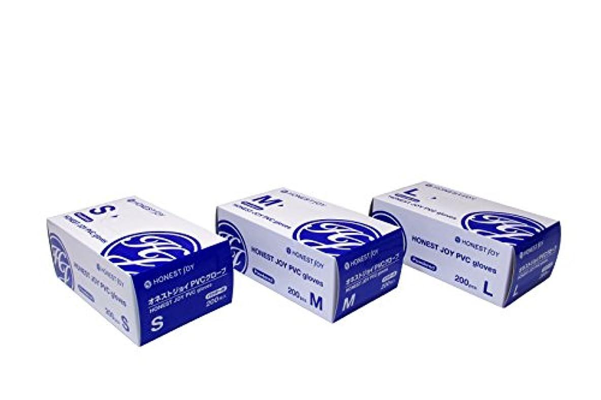 一般化する同行コンドームオネストジョイ PVC グローブ パウダー付 Mサイズ 1箱200枚入り