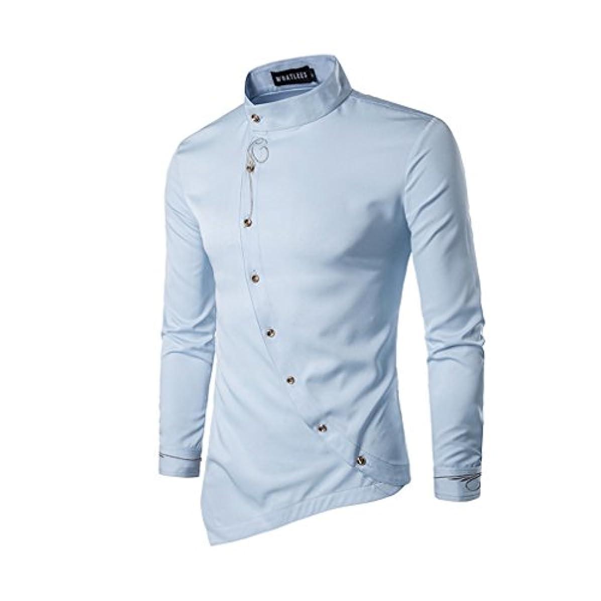 見通し入浴禁止するHonghu メンズ シャツ 長袖 斜めボタン 不規則 多色  ライトブルー L 1PC