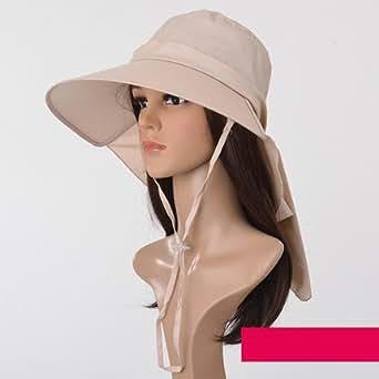 i-select エレガント 折りたたみUVカットつば広首までガード帽子ハット  レディース 全8色 FREE 春夏 (ディープカーキ)